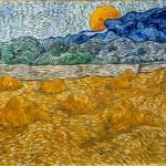 Van Gogh, Paesaggio con covoni di grano e luna crescente