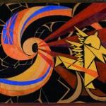 Giacomo Balla, La guerre, 1916, collage e olio su tela