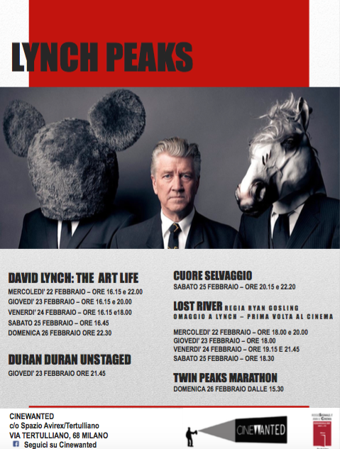 David Lynch, cinema Spazio Avirex Tertulliano