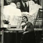 Frida in Front of Unfinished Unity Panel, photo Lucienne Blosh