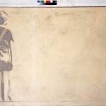 Fioroni Giosetta, Bambino solo, 1968, matita, smalti bianco e alluminio su tela, 100x200, (D)