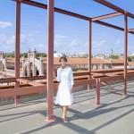 3. Patrizia Sandretto Re Rebaudengo sul terrazzo della NAVE 9 del Matadero Madrid