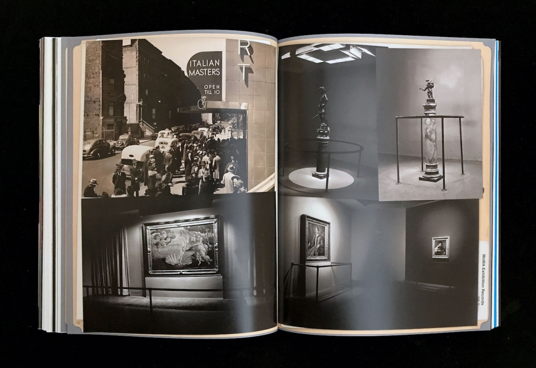 Photograph of crowds outside waiting to see the exhibition; installation views of the Italian Masters exhibition (Photographic Archive, MoMA Activities) (courtesy Esopus)