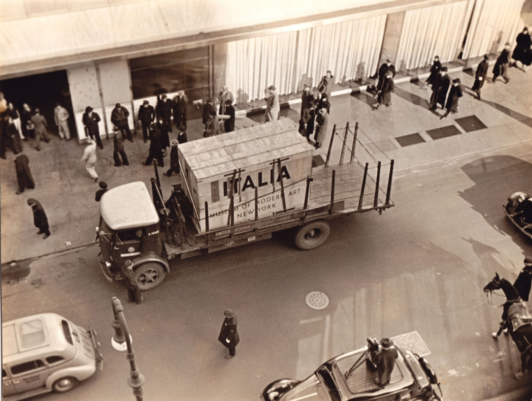 Arrival of the Italian Masters crates at the Museum of Modern Art (Photographic Archive, MoMA Activities) (courtesy Esopus)