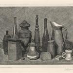 Giorgio Morandi, Grande natura morta con lampada a destra, 1928