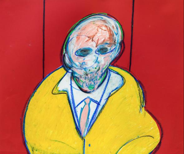 Francis Bacon – Figura in piedi, 1977-1992, pastello e collage su carta (dettaglio)