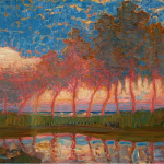 Piet Mondrian, Row of eleven poplars in red, yellow, blue end green