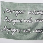 Babi Badalov, Refugees will come (green), 2018, paint on fabric, cm. 110x150, courtesy The Gallery Apart,Roma, photo by Giorgio Benni