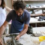 MCZ Francesco Simeti at work at Museo Carlo Zauli summer 2018 ph Nina Bovio