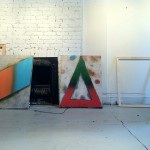 Andrew-Brischler,-Last-Chance-for-Romance-(left)-and-Forever's-Gonna-Start-Tonight,-2012,-in-the-artists-studio