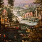 Jan Brueghel il Vecchio, Paesaggio fluviale con bagnanti, dettaglio