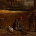 David Teniers il Giovane, Paesaggio fluviale con maniero e un viaggiatore esausto aiutato da un popolano vicino a una locanda, dettaglio