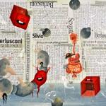 Elio Varuna Burlesquoni 2013 tecnica mista su carta applicata su pannello 100 x 135 cm