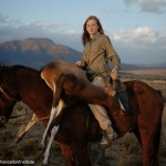 huntress with buck, south africa
