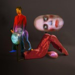 Tony Oursler_False Color Action, 2012, videoproiezione su tecnica mista, cm 129,5 x 162,6x81,3