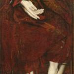 _Mrs. Wearing an earring_ oil on canvas  175X45cm  1993