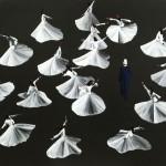 Aldo Mondino, Dervisci, Biennale di Venezia 1993, olio su linoleum, cm 190x240