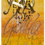 tecnica mista su carta e tela, acciaio dorato