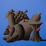 2 La grande abbuffata - 95x95 - acrilico e carboncino su tela - 2014