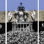 Klaus-Morgue,-Untitled,-2012,-acrilico,-foglia-oro-e-collage-su-tavola,-30x63-cm