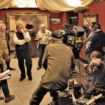 MIke Leigh e Timothy Spall sul set del film