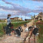 Adolfo-Tommasi,-Il-fischio-del-vapore,-olio-su-tela,-26x15