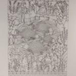 Il laghetto delle carpe giganti, filo di ferro cotto, cm 200x150, 2015
