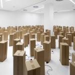 240 prepared dc-motors, cardboard boxes 60x20x20cm, Zimoun 2015