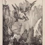 Arrivo di Pulcinella nella Luna, Litografia Fergola, Napoli 1836. Collezione Gondolo della Riva
