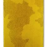 TRACCE, 2016. emulsione, carta, ecoline e chiodi su tavola sagomata, cm 100x140.