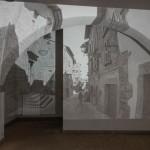 Andrea Aquilanti, Via Santa Maria, videoinstallazione, acrilico su muro, 2017