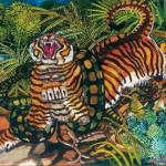 Antonio-Ligabue-Tigre-assalita-dal-serpente-olio-su-faesite