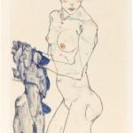 Egon Schiele, Donna nuda in piedi con stoffa blu