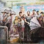 Kim In Sok, Rain Shower at the Bus Stop (work in progress)