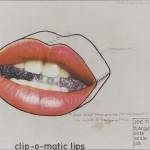 Joe Tilson Clip – o – matic lips, 1967. Collage e matita su carta, cm 70 x 55. Collezione privata. Fotografia di Pietro Notarianni © Joe Tilson by SIAE 2018.
