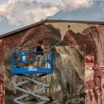 Borondo, work in progress, Mites terram possident, Malegno, foto di Davide Bassanesi