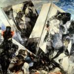 02) Ennio Calabria-La citta che scende - 1963, olio su tela cm. 140x240