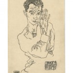 The Austrian Expressionist artist Egon Schiele and his wife, Edith, send a postcard featuring a Schiele self-portrait. Courtesy TASCHEN.