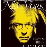 New York Magazine art critic Jerry Saltz as Andy Warhol, based on Self Portrait (1986). Photo-Illustration- John Ritter for New York Magazine