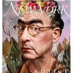 New York Magazine art critic Jerry Saltz as Frida Kahlo, based on Self Portrait, Dedicated to Dr. Eloesser (1940). Photo-Illustration- Joe Darrow for New York Magazine