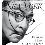 New York Magazine art critic Jerry Saltz as Salvador Dalí, based on a photograph by Philippe Halsman. Photo-Illustration: Joe Darrow for New York Magazine