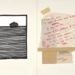 Venia Dimitrakopoulou_Labirinto_2012_dettaglio2_inchiostro e collage su carta_testi originali dell'artista