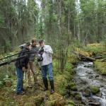 Jennifer Baichwal, Nicholas de Pencier and Edward Burtynsky working in Northern British Columbia, Canada 2012, Photo courtesy of Anthropocene Films © Inc 2018