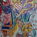 Bradamante e il suo amore Ruggiero, 2018 tecnica mista su tavola di legno, cm 127x97