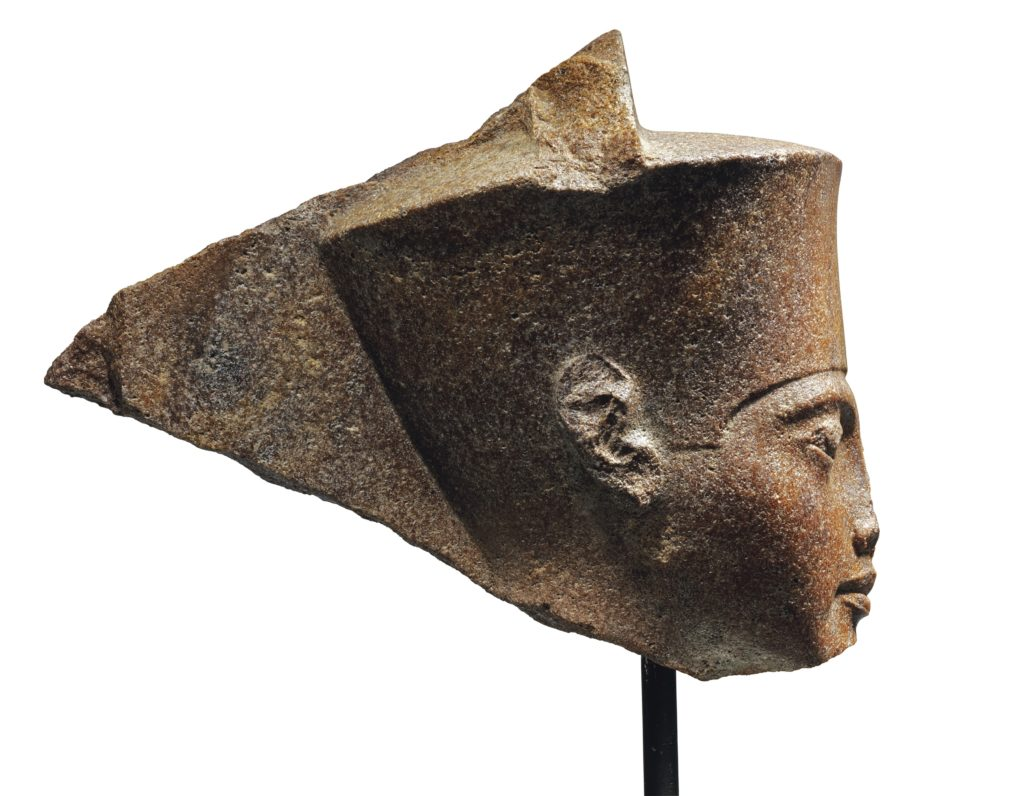 The Egyptian head of the god Amun with features of the Pharaoh Tutankhamen. Photo courtesy Christie's.