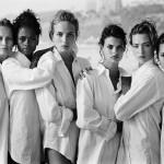Estelle Lefèbure, Karen Alexander, Rachel Williams, Linda Evangelista, Tatjana Patitz, Christy Turlington, Santa Monica, California, 1988