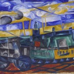 Natalia Goncharova Aeroplane over the Train 1913