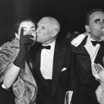 "Picasso, Jacqueline, film director Henri-Georges Clouzot and his wife Vera attending the showing of ""Le mystère Picasso"" (""The Mystery of Picasso""). Cannes Film Festival 1956."
