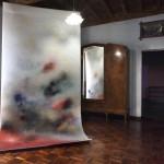 05. Corinna Gosmaro, Skies, 2018. Colori a olio e spray su filtri in poliestere, 300 x 150 cm. Courtesy The Gallery Apart. Photo Gino Di Paolo
