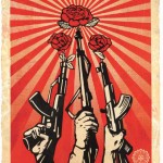 2. Shepard Fairey, Guns and Roses, 2019, Edition of 19, Silkscreen and mixed media collage on paper, hpm, 76 x 104 cm